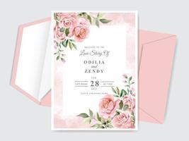 mooie bruiloft uitnodiging kaartsjabloon met bloemen hand getrokken vector