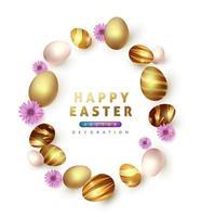 pasen achtergrond sjabloon met luxe premium gouden eieren. vector