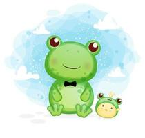 gelukkige schattige kikker met kuikens plezier cartoon afbeelding vector