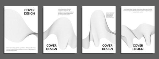 abstracte set grijs kleurverloop, golvende lijnvormen vector