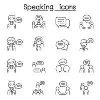 praten, spraak, discussie, dialoog, spreken, chat, conferentie, vergadering pictogrammenset in dunne lijnstijl