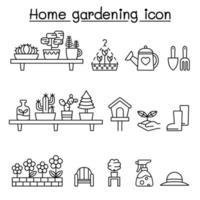 tuinieren pictogrammen instellen in dunne lijnstijl vector