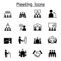 vergadering, conferentie, seminar, planning pictogrammenset vector illustratie grafisch ontwerp