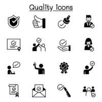 kwaliteit, goedgekeurd, vinkje pictogrammen instellen vector illustratie grafisch ontwerp