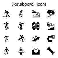 skateboard pictogrammenset vector illustratie grafisch ontwerp