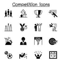 competitie, wedstrijd, toernooi pictogrammen instellen vector illustratie grafisch ontwerp