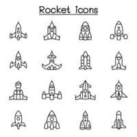 raket, ruimteschip, ruimtevaartuig pictogrammenset in dunne lijnstijl