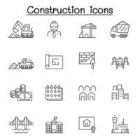 bouw pictogrammen instellen in dunne lijnstijl vector