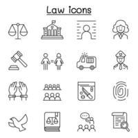 recht en rechtvaardigheid pictogrammenset in dunne lijnstijl