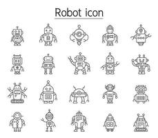 robot pictogrammenset in dunne lijnstijl vector