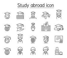 studeren in het buitenland pictogrammenset in dunne lijnstijl vector