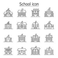 school pictogrammenset in dunne lijnstijl