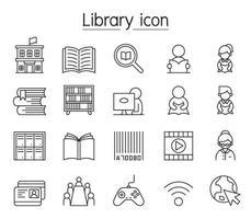 bibliotheek pictogrammenset in dunne lijnstijl