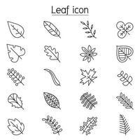 blad pictogrammenset in dunne lijnstijl vector