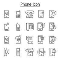 telefoon, telefoon, smartphone pictogrammen instellen in dunne lijnstijl vector