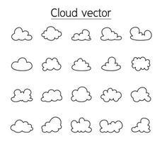 wolk pictogrammenset in dunne lijnstijl vector
