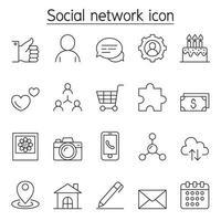 sociaal netwerkpictogram ingesteld in dunne lijnstijl