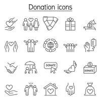 donatie en liefdadigheid pictogrammen instellen in dunne lijnstijl