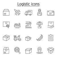 logistiek en levering pictogrammenset in dunne lijnstijl vector