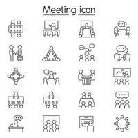zakelijke bijeenkomst, conferentie, seminarie en interview pictogrammenset in dunne lijnstijl vector
