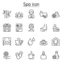 spa, aromatherapie pictogrammenset in dunne lijnstijl