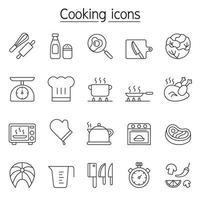 koken pictogrammenset in dunne lijnstijl
