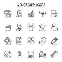 apotheek pictogramserie. inclusief de pictogrammen als medicijn, pillen, capsule, kruidengeneesmiddelen, apotheker, drogisterij en meer vector