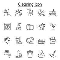 schoonmaak pictogrammenset in dunne lijnstijl vector