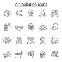 luchtvervuiling pictogrammenset in dunne lijnstijl
