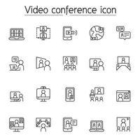 videoconferentie, presentatie, online vergadering pictogrammenset in dunne lijnstijl