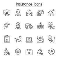 verzekering pictogrammen instellen in dunne lijnstijl vector