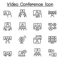 set van videoconferentie lijn iconen.