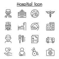 set van ziekenhuis gerelateerde vector lijn iconen.