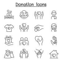 set van lijn iconen voor donatie en liefdadigheid.