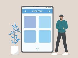 online winkelcatalogus, technologie, winkelen, verkoopconcept. vector