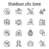 set van lockdown stad van viruscrisis gerelateerde vector lijn iconen. bevat pictogrammen als sluitingsstad, quarantaine van de staat, annulering van vluchten, gesloten bedrijf en meer.