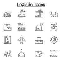 logistiek en bezorgservice pictogrammenset in dunne lijnstijl vector
