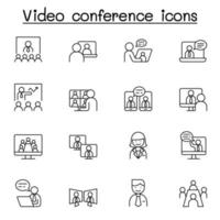videoconferentie pictogrammen instellen in dunne lijnstijl vector