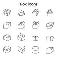 box pictogrammen instellen in dunne lijnstijl vector