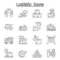logistieke pictogrammen instellen in dunne lijnstijl vector