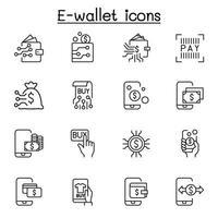 e-wallet, digitaal geld, mobiel bankieren pictogrammenset in dunne lijnstijl