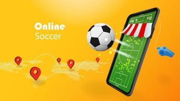 online voetbalconcept met 3d mobiele telefoon en voetbal op gele achtergrond vector
