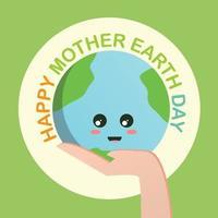 gelukkig moeder aarde dag concept met aarde in menselijke hand op groene achtergrond vector