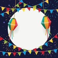 festa junina achtergrond met vlag en lantaarn vector