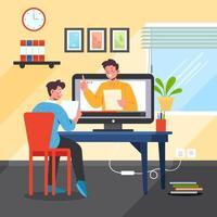 een student heeft thuis een online school vector