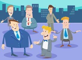 zakenlieden of mannen stripfiguren groep in de stad vector