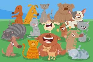 cartoon honden en katten grappige dieren karakters groep vector