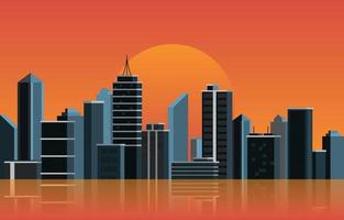 nacht stad bouw stadsgezicht skyline zakelijke illustratie