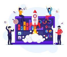 opstarten bedrijfsconcept, mensen die werken aan de raketlancering. het ontwikkelingsproces, innovatieproduct, creatief idee vector