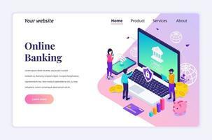 modern plat isometrisch ontwerpconcept van online bankieren met karakters. online financiële investering voor website en mobiele website. bestemmingspagina sjabloon. vector illustratie